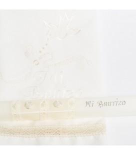 Conjunto vela y pañuelo de bautizo - Crudo