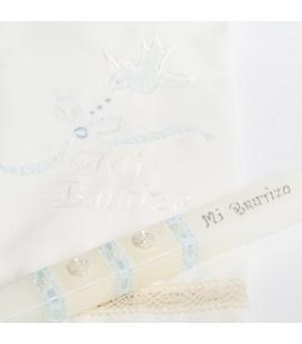 Conjunto vela y pañuelo de bautizo - Crudo / Celeste