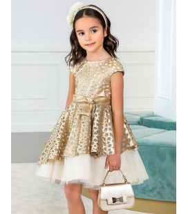 Abel&Lula - Vestido polipiel troquelado dorado para niña