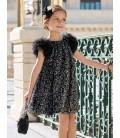 Abel&Lula - Vestido tul fantasia estampado negro para niña