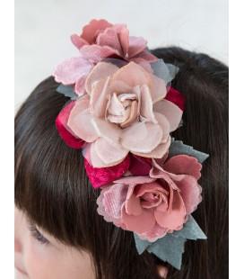 Abel&Lula - Diadema terciopelo flores rosa para niña