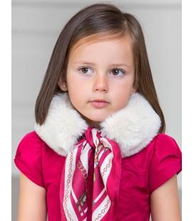 Abel&Lula - Cuello de pelo beige con pañuelo para niña