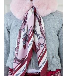 Abel&Lula - Cuello de pelo rosa con pañuelo para niña