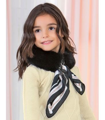 Abel&Lula - Cuello de pelo negro con pañuelo para niña