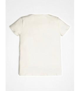Guess - Camiseta logo laminado beige para niña