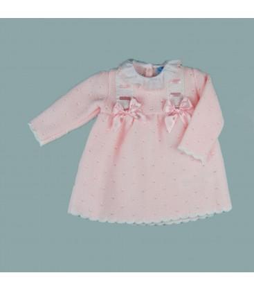 Sardón - Vestido de punto Belén rosa para bebé
