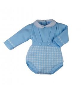 Sardón - Conjunto Pata Gallo celeste para bebé