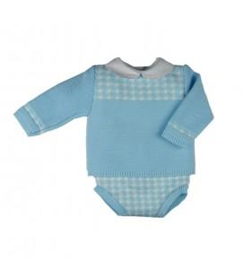 Sardón - Conjunto de punto para bebé azul celeste