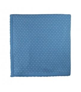 Sardón - Manta de punto Copito azulado para bebé