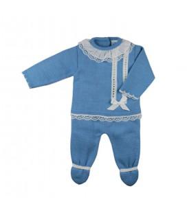 SARDON - Conjunto bebé jubón y polaina Yago azulado