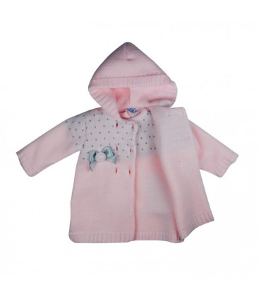 SARDON - Abrigo + vestido de punto Fátima rosa para bebé