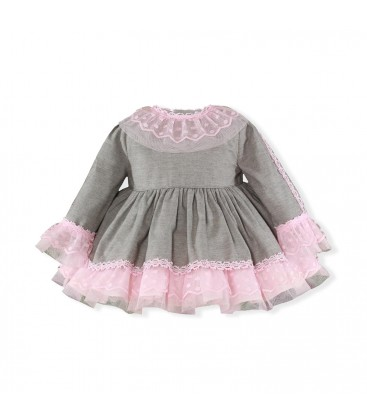 Miranda - Vestido gris para bebé