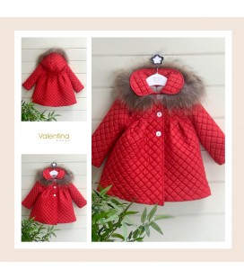 Valentina bebés - Abrigo acolchado rojo con pelo