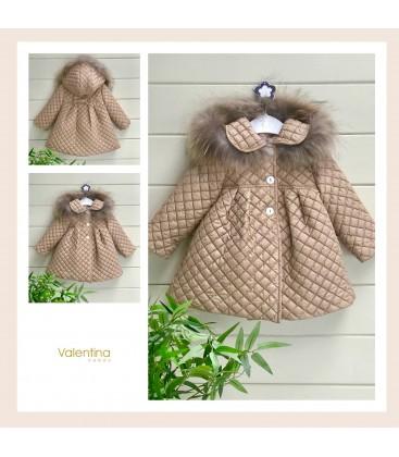 Valentina bebés - Abrigo acolchado cámel con pelo