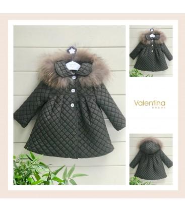 Valentina bebés - Abrigo acolchado verde inglés con pelo