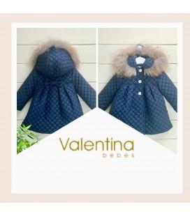 Valentina bebés - Abrigo acolchado azul marino con pelo