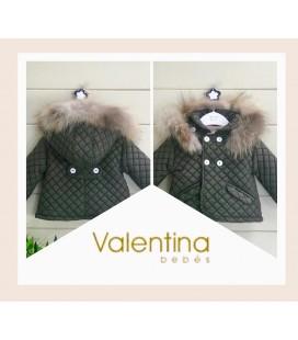 Valentina bebés - Trenca acolchada verde inglés con pelo natural