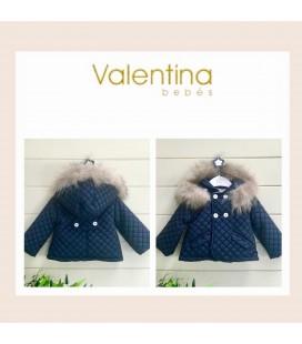 Valentina bebés - Trenca acolchada azul marino con pelo natural