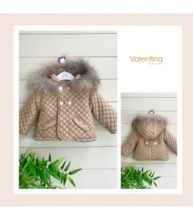 Valentina bebés - Trenca acolchada cámel con pelo natural