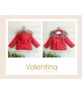 Valentina bebés - Trenca acolchada roja con pelo natural