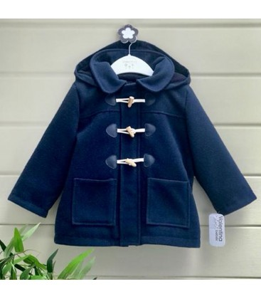 Valentina Bebés - Trenca de paño con capucha azul marino