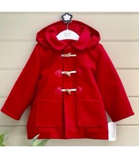 Valentina Bebés - Trenca de paño con capucha roja