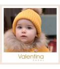 Valentina Bebés - Gorro de punto oro con pelo natural