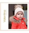 Valentina Bebés - Gorro de punto arena con pelo natural