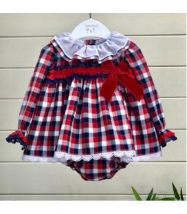 Valentina Bebés - Vestido + braga para bebé cuadros rojos y marino