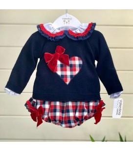 Valentina Bebés -Conjunto blusa + braga + jersey rojo y marino