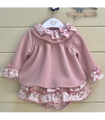 Valentina Bebés - Camisola + braga con volantes rosa empolvado