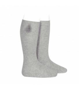 Calcetines altos punto liso con borla de pelo de Cóndor - Aluminio