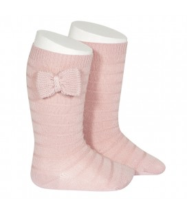 Calcetines altos textura lazo punto de Cóndor - Rosa empolvado