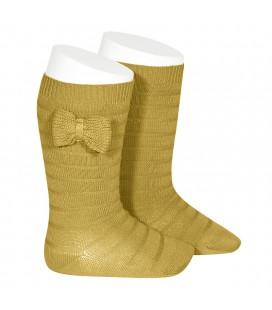 Calcetines altos textura lazo punto de Cóndor - Mostaza