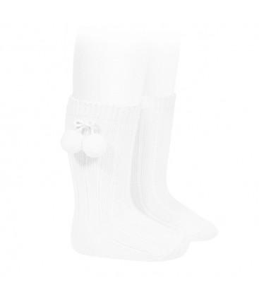 Calcetines altos acanalados con borlas de Cóndor - Blanco