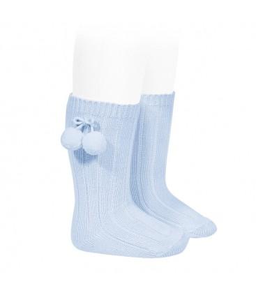 Calcetines altos acanalados con borlas de Cóndor - Azul bebé
