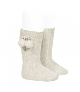 Calcetines altos acanalados con borlas de Cóndor - Lino