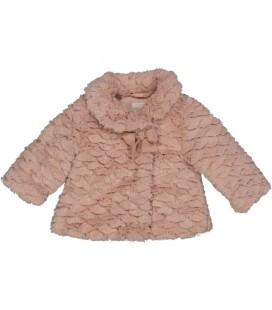 Birba - Abrigo de pelo rosa empolvado para bebé