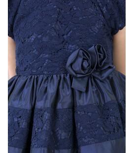 Abel&Lula - Vestido tafetan con encaje azul marino
