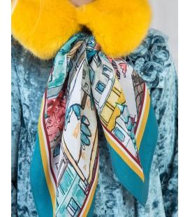 Abel&Lula - Cuello de pelo mostaza con pañuelo para niña