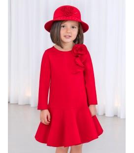 Abel&Lula - Vestido punto roma rojo para niña