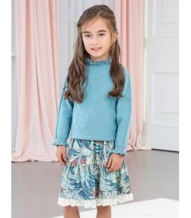 Abel&Lula - Conjunto falda y jersey tricot para niña