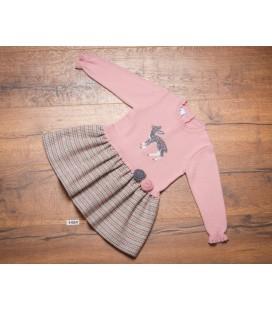 Granlei - Vestido cuerpo de punto rosa