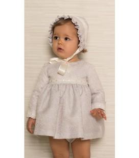 Atelier de Candela - Vestido + braga + capota gris para bebé