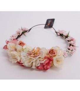 Tocado de flores para comunión y eventos - Coral