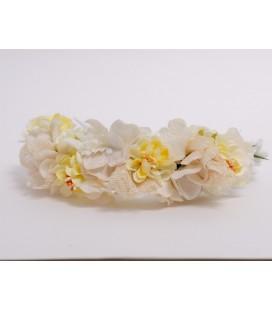 Tocado de flores para comunión y eventos - Beige