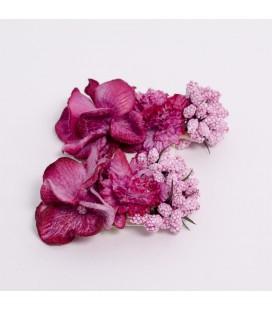 Aplique flores para calzado - Morado