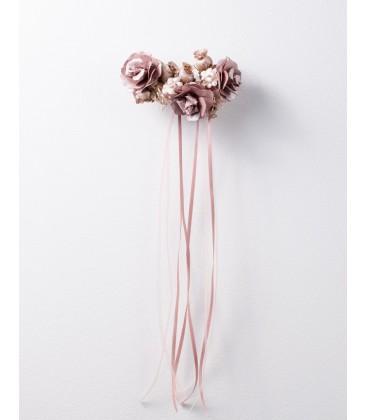 Tocado de Comunión de Flormoda - Rosa pálido / Oro