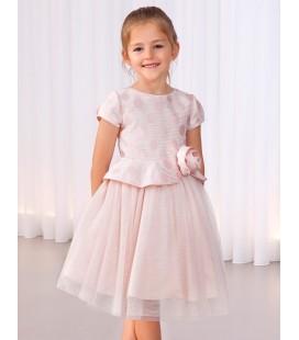 Abel&Lula - Vestido para niña jacquard rosa topos brillo