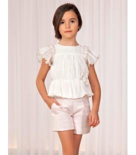 Abel&Lula - Conjunto blusa y bermuda jacquard para niña